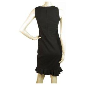 Missoni-Missoni Black Frill Hemline Slit Cotton Knee Length Sleeveless Dress Size S-Black