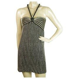 M Missoni-Missoni Mini-robe rayée sans manches en tricot gris noir métallisé taille IT 38-Argenté