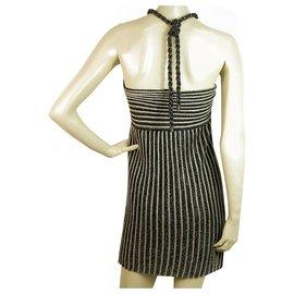 M Missoni-Missoni Black Gray Metallic Knitted Sleeveless Striped mini dress IT size 38-Silvery