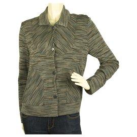M Missoni-MISSONI Grey Hues Woolen Snap Button front Jacket Cardigan Cardi size IT 44-Multicolore