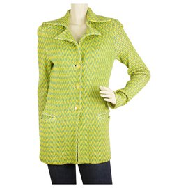 Missoni-MISSONI Green Yellow Zig Zag Button Front Jacket Cardigan Pointed Collar sz 42-Multicolore