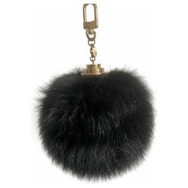 Louis Vuitton-Breloque en fourrure de renard noir Fuzzy Bubble-Noir