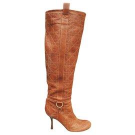 Dior-Dior p heeled boots 36,5-Light brown