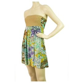 Missoni-Missoni Gold Metallic knitted Strapless Floral fabric mini above knee dress-Multiple colors