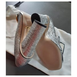 Gucci-Metalic Leather Pump-Argenté