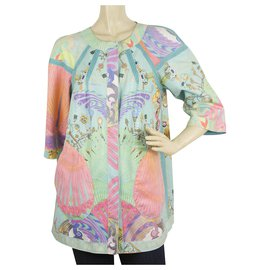 Just Cavalli-Cavalli Class Turqoise Floral Two Sided Double Face Jacket Long Cardigan sz 40-Turquoise