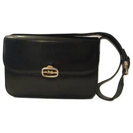 Céline-CELINE vintage bag Triomphe black leather-Black
