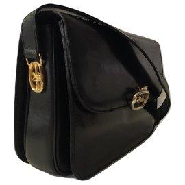 Céline-CELINE vintage sac Triomphe cuir noir-Noir