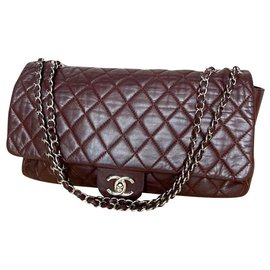 Chanel-Chanel burgundy flap bag with rain cover-Dark red