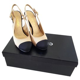Chanel-Chanel beige and black slingbacks heels EU37-Black,Beige