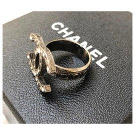 Chanel-Chanel CC crystal ruthenium ring 52-Metallic