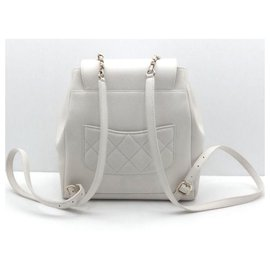Chanel-Chanel white caviar backpack with light gold hardware-White