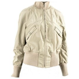 Chanel-CHANEL Jacket Original - BEIGE BOMBER Jacket Rare-Beige