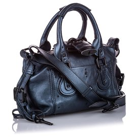 Chloé-Chloe Blue Leather Paddington Satchel-Blue,Dark blue
