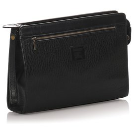 Burberry-Burberry Black calf leather Leather Clutch Bag-Black