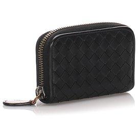 Bottega Veneta-Bottega Veneta Black Intrecciato Leather Coin Pouch-Black