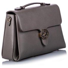 Gucci-Cartable G entrelacé en cuir grainé gris Gucci-Autre,Gris