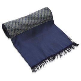 Hermès-Hermes Blue Printed lined Silk Scarf-Blue