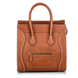 Céline-Celine Brown Leather Luggage Tote-Brown