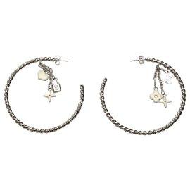 Louis Vuitton-Louis Vuitton Silver Sweet Monogram Creole Hoop Earrings-Silvery,White