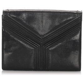 Yves Saint Laurent-Pochette en cuir gaufré noir YSL-Noir