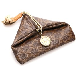 Céline-Celine Brown Macadam Coin Pouch-Brown,Dark brown