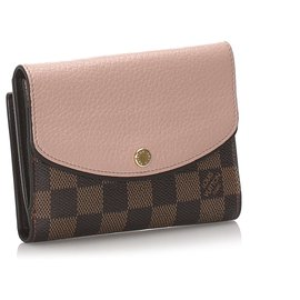 Louis Vuitton-Portefeuille Louis Vuitton Brown Damier Ebene Portefeuille Normandy-Marron,Rose