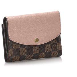 Louis Vuitton-Louis Vuitton Brown Damier Ebene Portefeuille Normandy Wallet-Brown,Pink