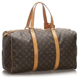 Louis Vuitton-Louis Vuitton Monogramme Sac Souple Marron 45-Marron,Marron foncé