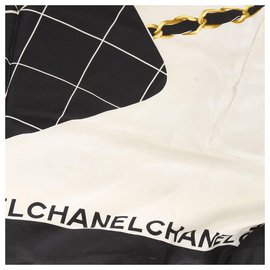 Chanel-Chanel Black CC Print Silk Scarf-Black,Golden