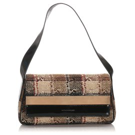 Burberry-Burberry Brown Check Wool Shoulder Bag-Brown,Black