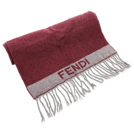 Fendi-Écharpe à franges en laine rouge Fendi-Rouge,Gris