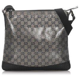 Gucci-Sac à bandoulière Gucci Grey GG Supreme-Noir,Gris
