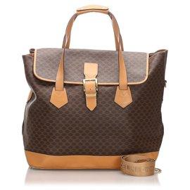 Céline-Celine Brown Macadam Travel Bag-Brown