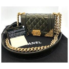 Chanel-Mini sac garçon Chanel Baroque en édition limitée-Vert olive