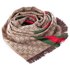 Gucci-Écharpe en laine Gucci marron GG Web-Marron,Rouge