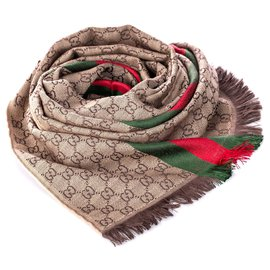 Gucci-Gucci Brown GG Web Wool Scarf-Brown,Red