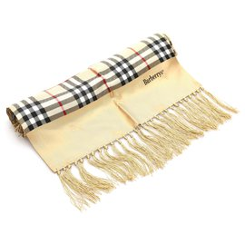 Burberry-Burberry Brown Haymarket Check Silk Scarf-Brown,Beige