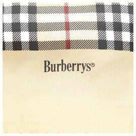 Burberry-Écharpe en soie à carreaux marron Haymarket-Marron,Beige