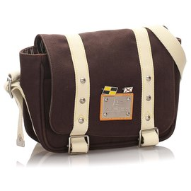 Louis Vuitton-Louis Vuitton Brown Antigua Besace PM-Marron,Blanc,Marron foncé