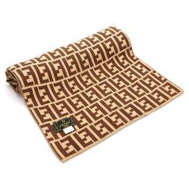 Fendi-Fendi Brown Zucca Silk Scarf-Brown,Multiple colors