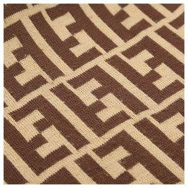 Fendi-Fendi Brown Zucca Silk Scarf-Marron,Multicolore