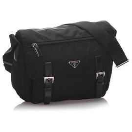 Prada-Prada Black Tessuto Messenger Bag-Black