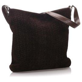 Céline-Celine Black C Macadam Suede Shoulder Bag-Black
