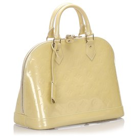 Louis Vuitton-Louis Vuitton Brown Vernis Alma PM-Marron,Beige