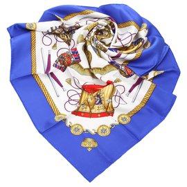 Hermès-Hermes Blue Les Tambours Silk Scarf-Blue,Multiple colors