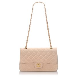 Chanel-Chanel Pink Classic Small Nubuck Leather lined Flap Bag-Pink,Golden,Other