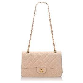 Chanel-Petit sac à rabat en cuir nubuck classique rose Chanel-Rose,Doré,Autre