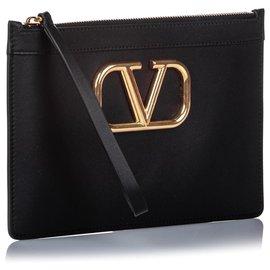 Valentino-Valentino Black VLOGO Leather Pouch-Black