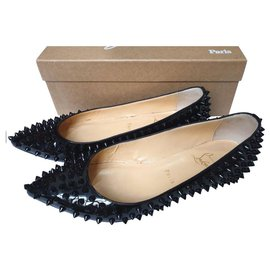 Christian Louboutin-Christian Louboutin spiked black patent flats shoes EU38-Blue